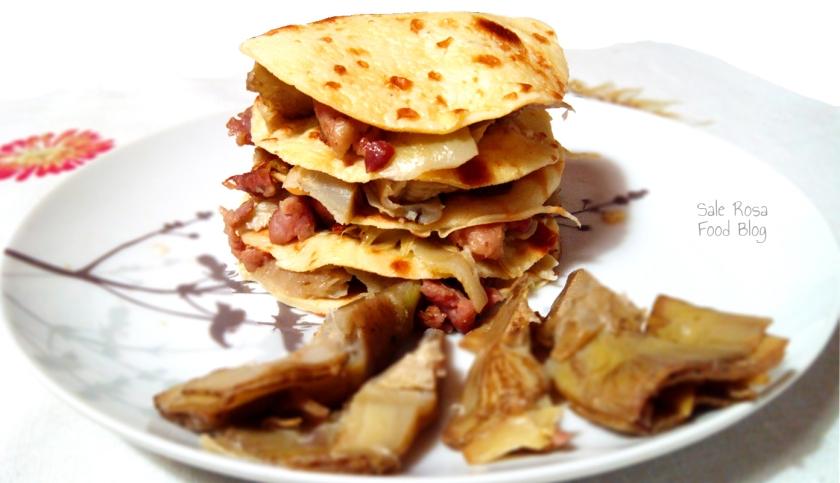 Lasagnetta di crepes carciofi e salsiccia