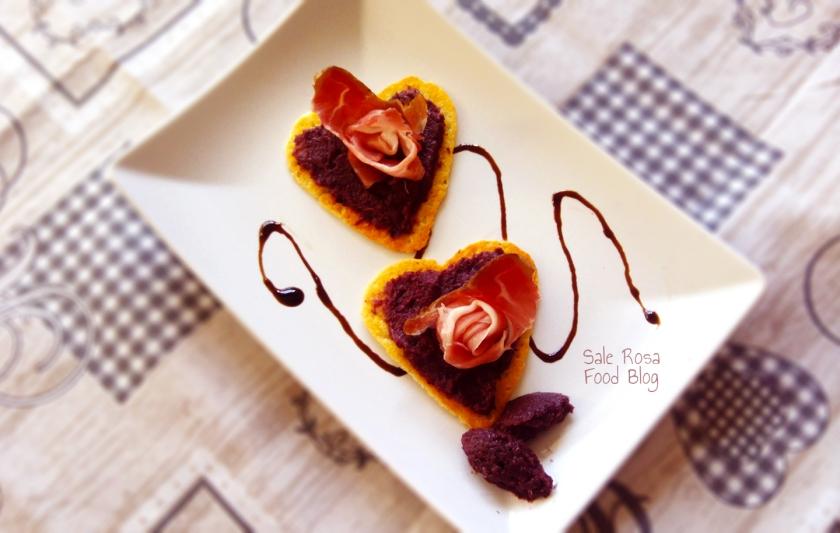 Cialde di parmigiano, crema di radicchio e spec