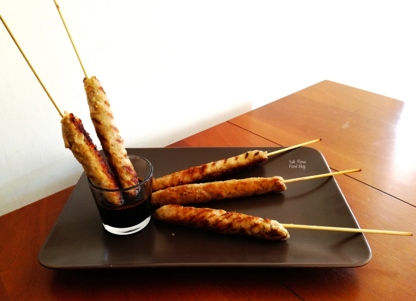 Spicy pork sticks and sweet and sour sauce