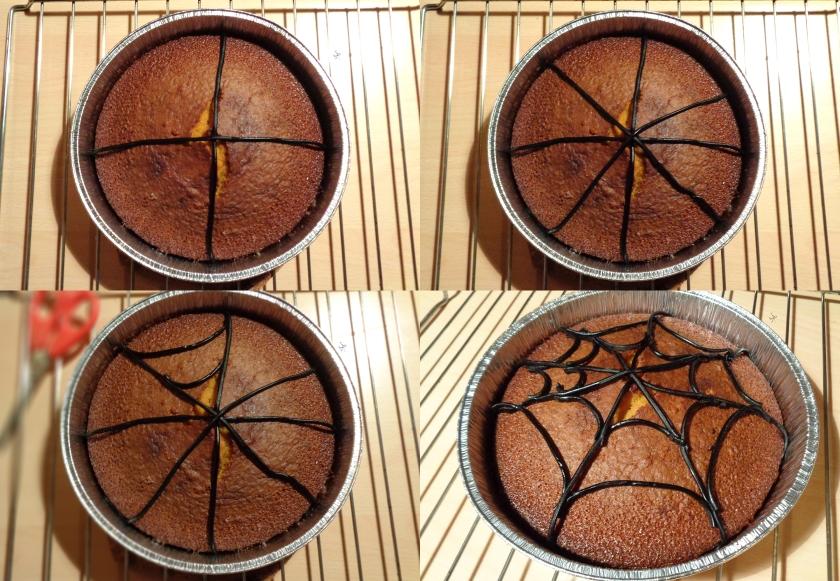 Procedimento per decorare con la liquirizia a formare una ragnatela sulla torta di zucca per halloween