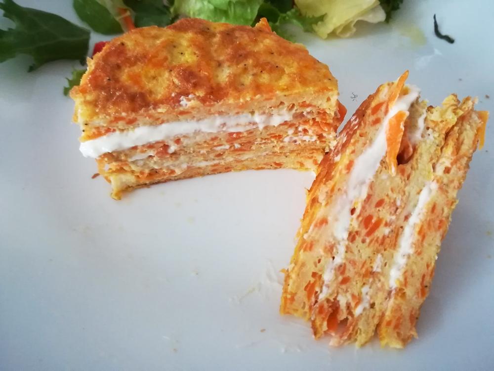 Lasagnetta di frittata di carote e philadelphia